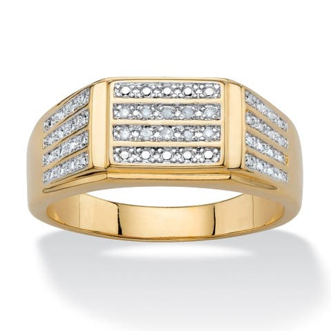 Men's Yellow Gold-Plated Genuine Diamond Accent Ring
