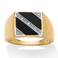 Men's Gold over Sterling Silver Black Onyx and Diamond Accent Ring