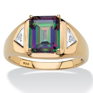 Men's Gold over Sterling Silver Mystic Topaz and Diamond Accent Ring