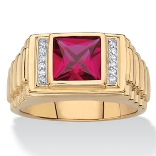 Men's Gold over Sterling Silver Ruby and Diamond Accent Ring