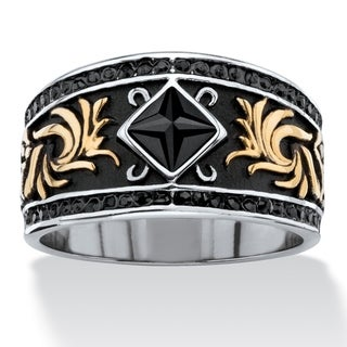 Men's Antiqued Stainless Steel Black Crystal Ring