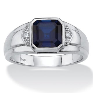 Men's Platinum over Sterling Silver Sapphire and Diamond Accent Ring