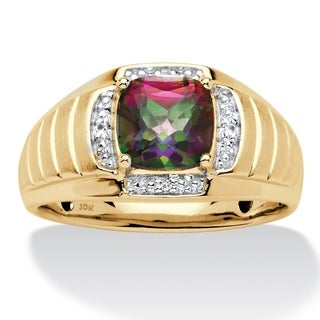 Men's 10K Gold Mystic Fire Topaz and Diamond Accent Ring