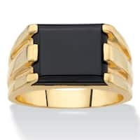 Men's Yellow Gold-Plated Simulated Black Onyx Ring