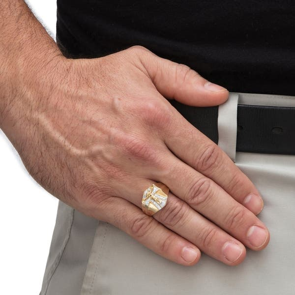 81ace200642b9 Men's Gold over Sterling Silver Diamond Crucifix Ring