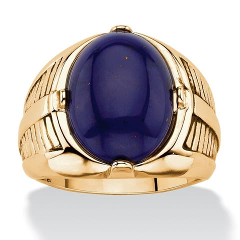 Men's Yellow Gold-Plated Simulated Blue Lapis Cabochon Ring