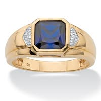 Men's 10K Yellow Gold Created Blue Sapphire and Diamond Accent Ring
