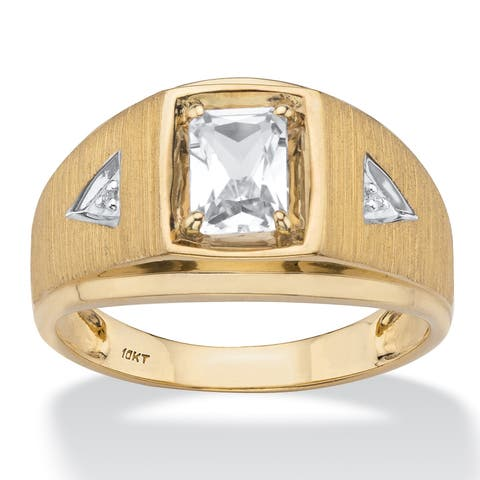 Men's 10K Yellow Gold Created Sapphire and Diamond Accent Ring