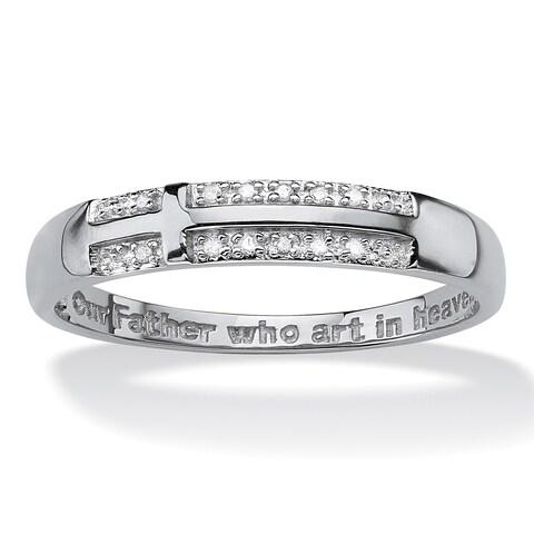 Men's 10K White Gold Cross Genuine Diamond Accent Ring