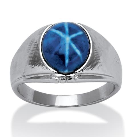 Men's Silver Tone Lucite Ring