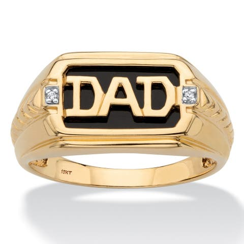Men's 10K Yellow Gold Natural Black Onyx and Diamond Accent Dad Ring