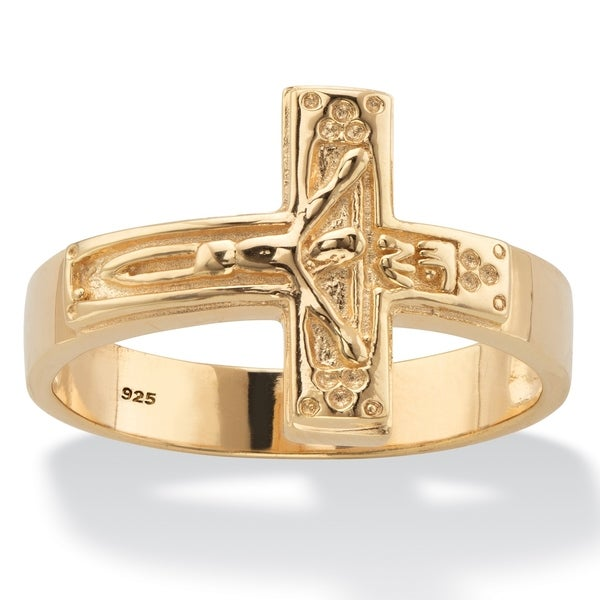 f696883856f3b Men's Yellow Gold over Sterling Silver Cross Ring