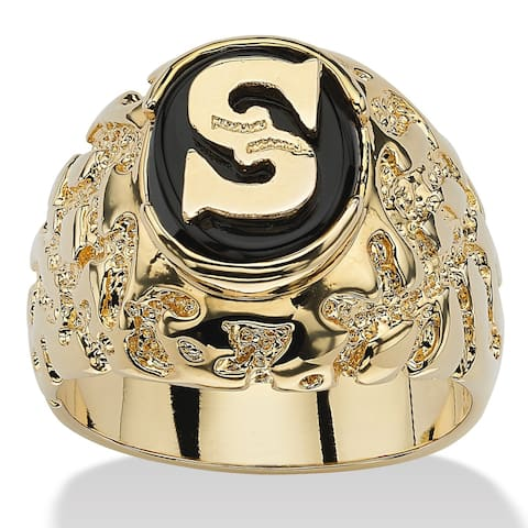 Men's Yellow Gold-Plated Natural Black Onyx I.D. Ring