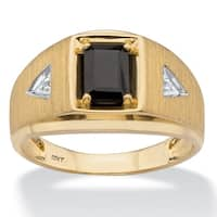 Men's 10K Yellow Gold Natural Black Onyx and Diamond Accent Ring