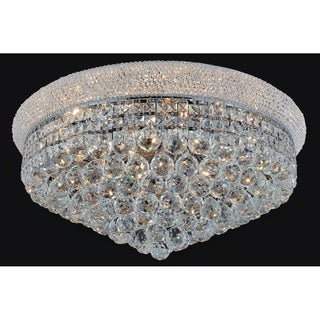 Chrome-finished Stainless Steel 19-light Traditional Flush Mount Fixture with Crystal Accents