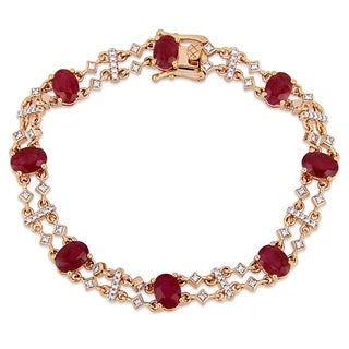 Miadora 14k Rose Gold Ruby and 3/8ct TDW Diamond Station Bracelet