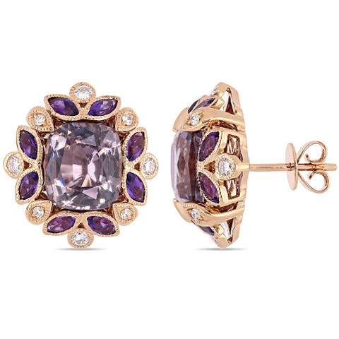 Miadora 14k Rose Gold Violet Spinel African Amethyst and 1/3ct TDW Diamond Floral Stud Earrings