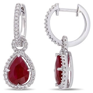 Miadora 14k White Gold Ruby & 2/5ct TDW Diamond Teardrop Halo Earrings
