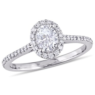 Link to Miadora 14k White Gold 3/4ct TDW Oval-Cut Diamond Halo Engagement Ring Similar Items in Wedding Rings