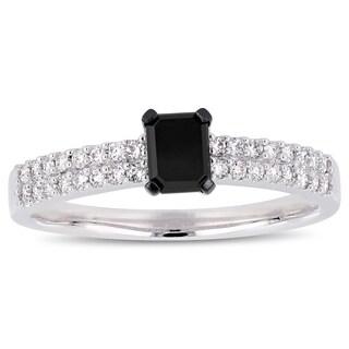 Miadora 14k White Gold 3/4ct TDW Black and White Diamond Engagement Ring