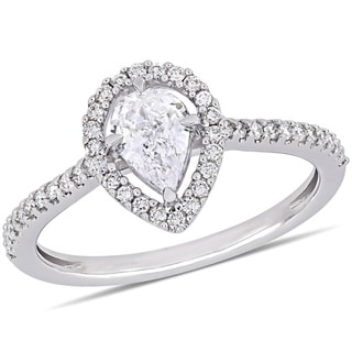 Link to Miadora 14k White Gold 3/4ct TDW Diamond Pear and Round-Cut Floating Halo Engagement Ring Similar Items in Wedding Rings