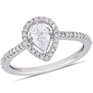 Miadora 14k White Gold 3/4ct TDW Diamond Pear and Round-Cut Floating Halo Engagement Ring