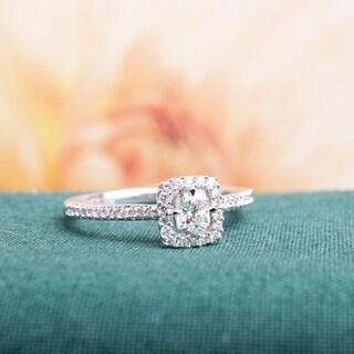 Miadora 14k White Gold 1/2ct TDW Diamond Cushion and Round-Cut Floating Halo Engagement Ring