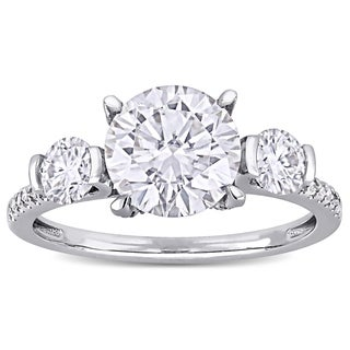 Moissanite by Miadora 14k White Gold 2 5/8ct TGW Moissanite and 1/6ct TDW Diamond Engagement Ring