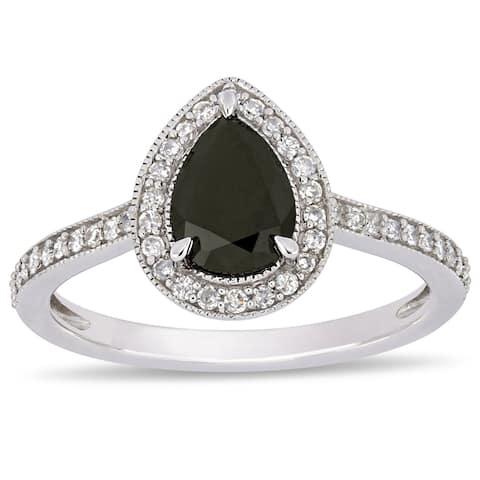 Miadora 10k White Gold 1-1/5ct TDW B&W Diamond Teardrop Halo Engagement Ring
