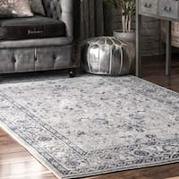 nuLOOM Gray Traditional Antique Lavish Versaille Blooming Fantasy Faded Frame Area Rug - 8' x 10'