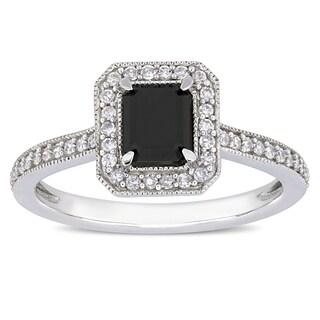 Miadora 10k White Gold 1-1/4ct TDW Black and White Diamond Double Emerald Halo Engagement Ring