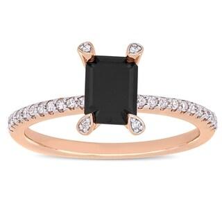 Miadora 10k Rose Gold 1-1/10ct TDW Black and White Diamond Engagement Ring