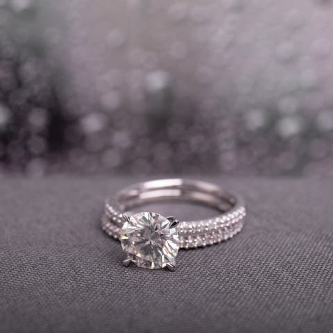 Miadora 2ct DEW Moissanite and 1/4ct TDW Diamond Bridal Ring Set in 14k White Gold