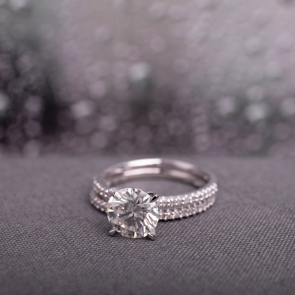 Moissanite by Miadora Signature Collection 14k White Gold 2ct TGW Moissanite and 1/4ct TDW Diamond Bridal Ring Set. Opens flyout.