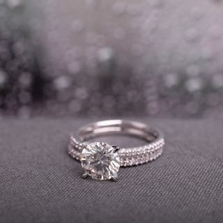 Moissanite by Miadora Signature Collection 14k White Gold 2ct TGW Moissanite and 1/4ct TDW Diamond Bridal Ring Set