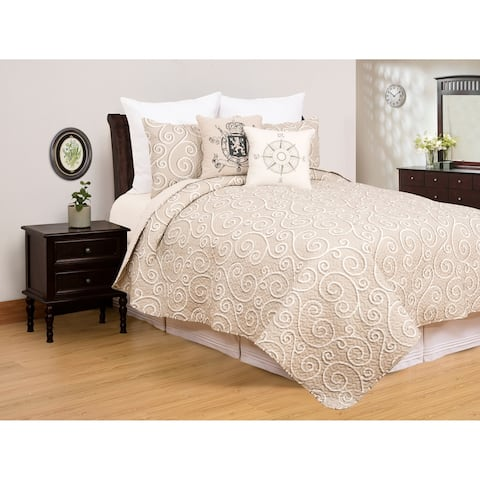 Flemming Contemporary Scroll Microfiber 3 Piece Quilt Set - Twin 2 Piece