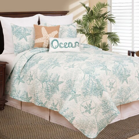Ocean Pearl Microfiber Coastal Quilt Set