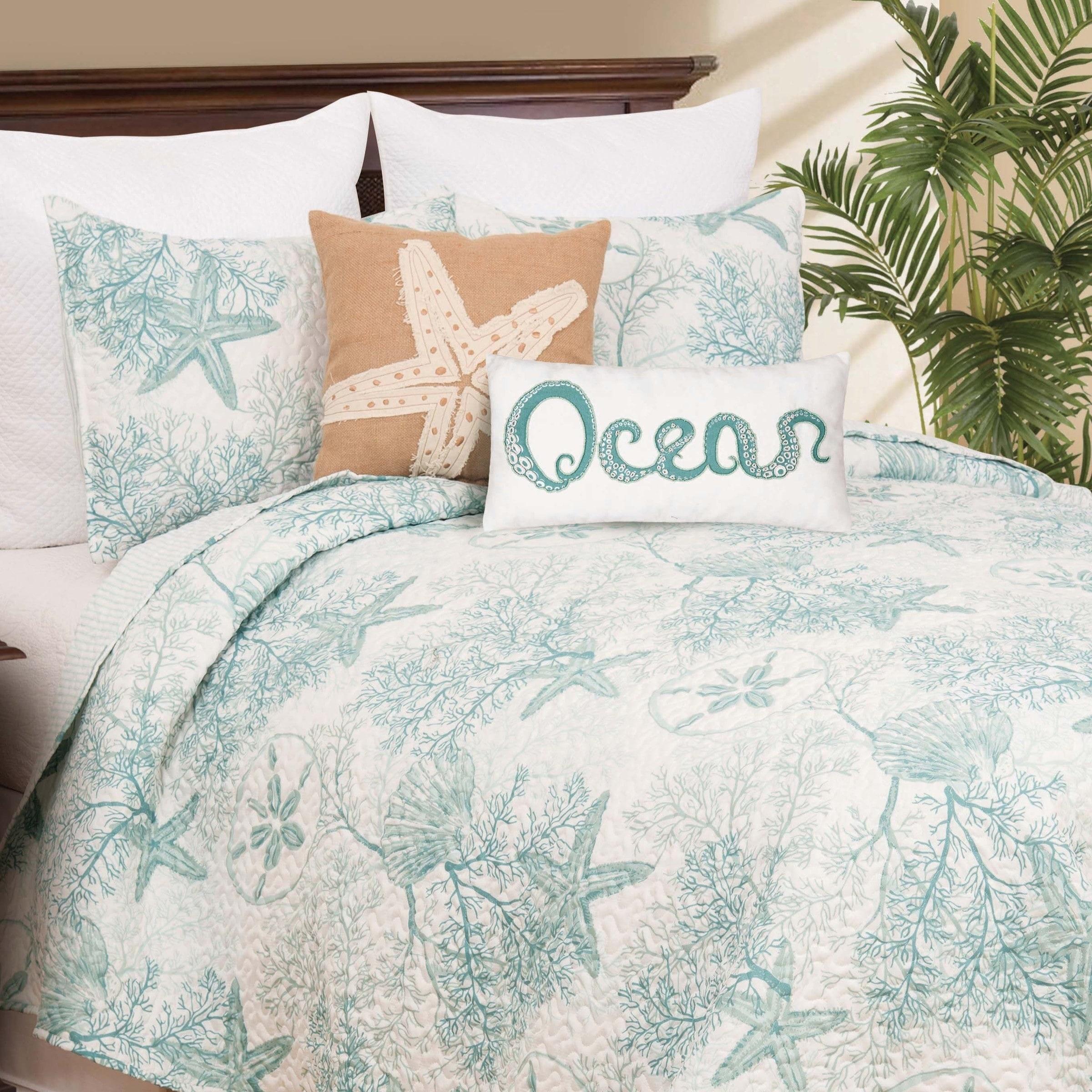 Full Queen King Bed Aqua Blue Coral Nautical Seashell Coastal 5 Pc Comforter Set Comforters Bedding Sets