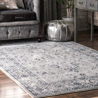 nuLOOM Traditional Antique Lavish Versaille Blooming Fantasy Faded Frame Area Rug