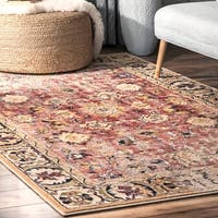 nuLOOM Orange Traditional Charming Floral Antoinette Bloom Faded Border Area Rug - 8' x 10'