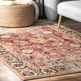 nuLOOM Traditional Charming Floral Antoinette Bloom Faded Border Area Rug