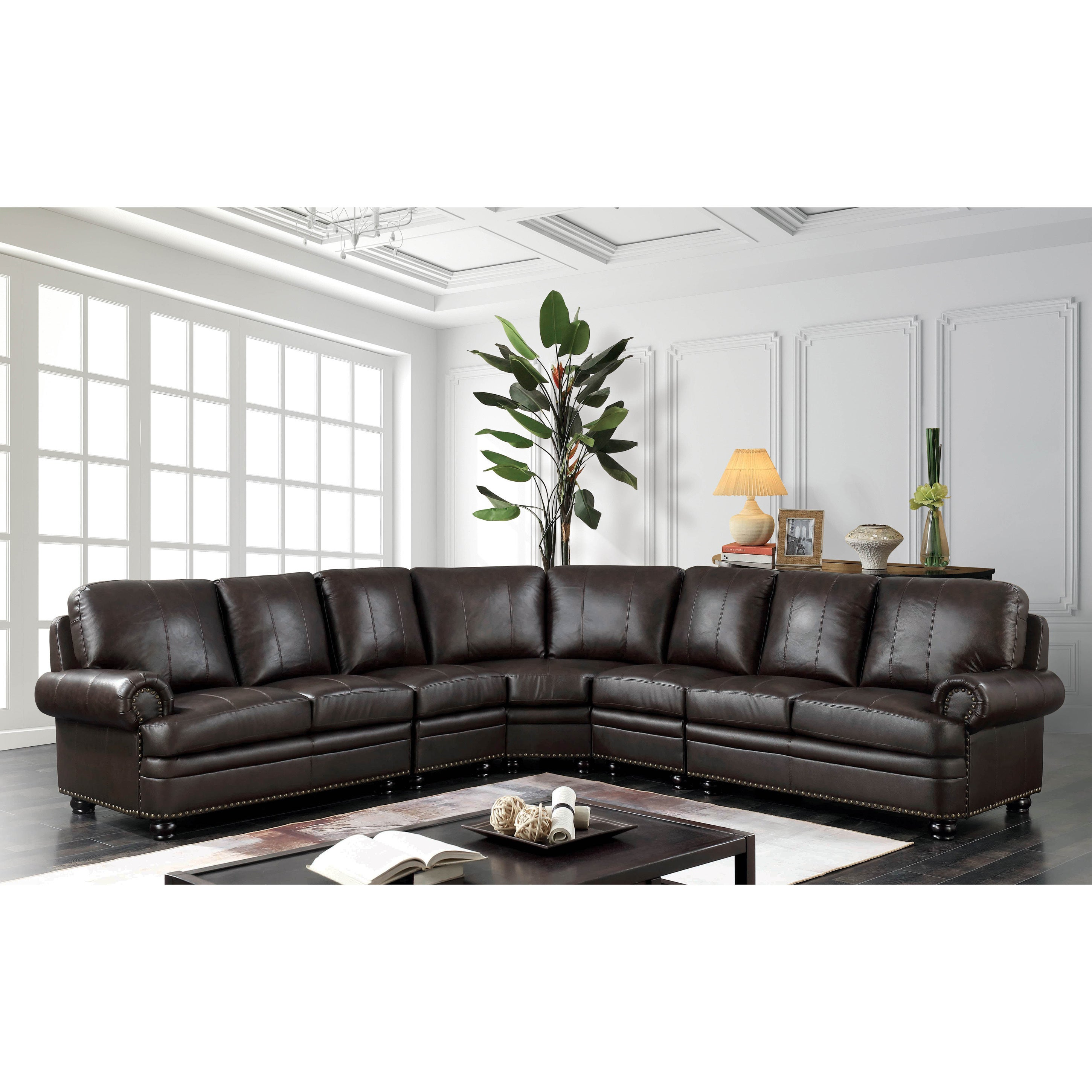 Furniture of America Hodges Brown Leather 8-seater Sectional Sofa
