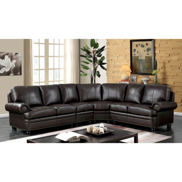 Furniture Of America Hodges Brown Leather 7 Seater Sectional Sofa