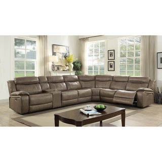 Furniture of America Rol Grey 5-seater Reclining Sectional