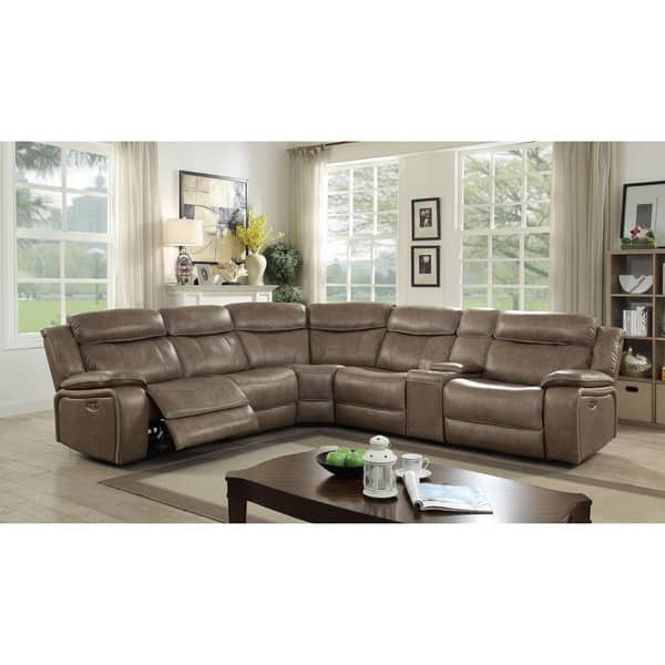 Shop Furniture of America Marshall I Top Grain Leather 5-Seater ...
