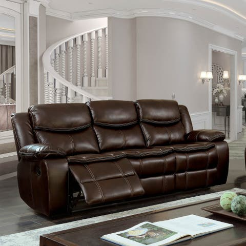 Furniture of America Lage Transitional Brown Faux Leather Tufted Sofa