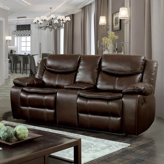 Barron Transitional Brown Reclining Loveseat with Console by FOA