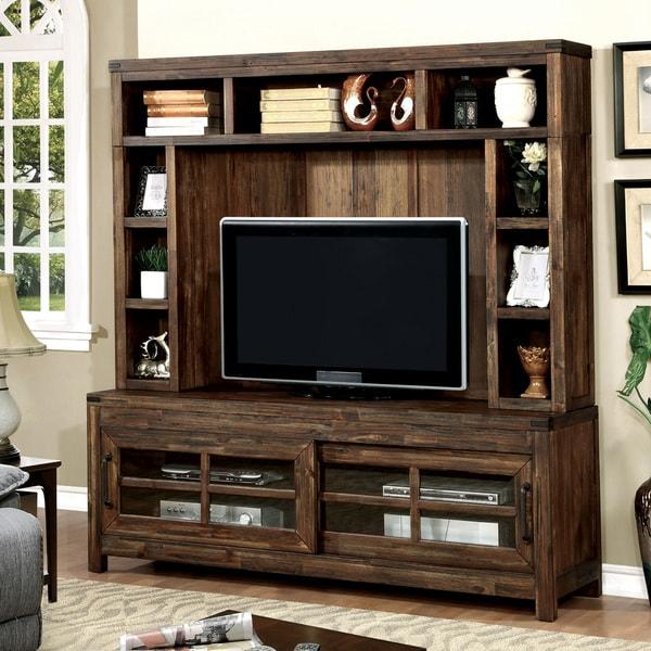 Furniture of America Peln Rustic Oak 2-piece TV Stand and Hutch Set