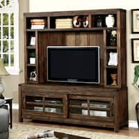 Furniture of America Jelen Rustic 2-piece Oak TV Stand and Hutch Set