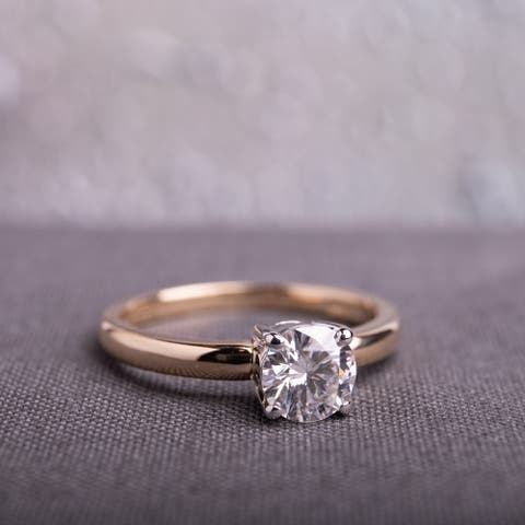 Moissanite by Miadora 14k 2-tone Yellow & White Gold 3/4ct Moissanite Solitaire Engagement Ring